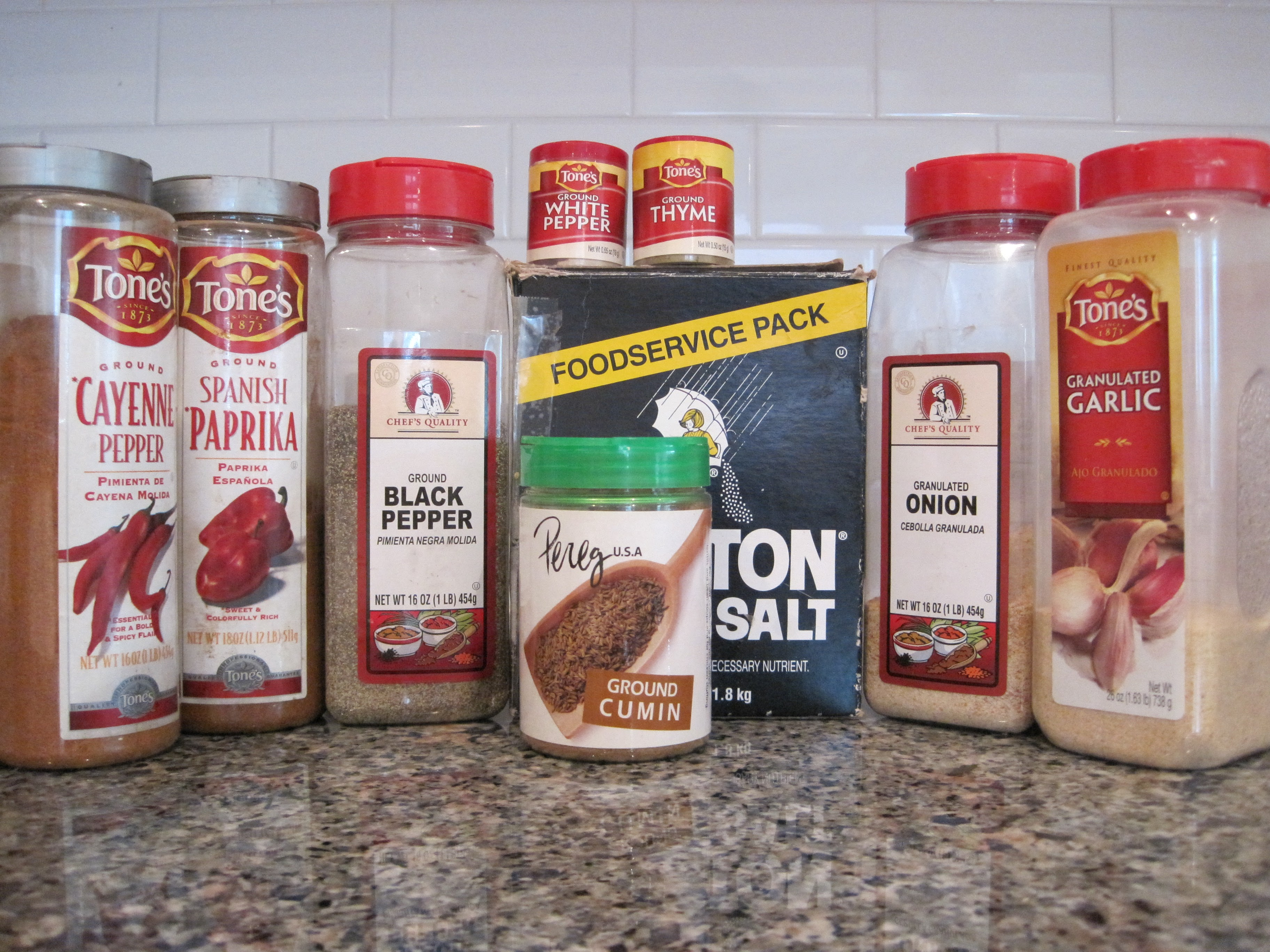 All the ingredients. Note the large spice bottles...there's a reason for that!!
