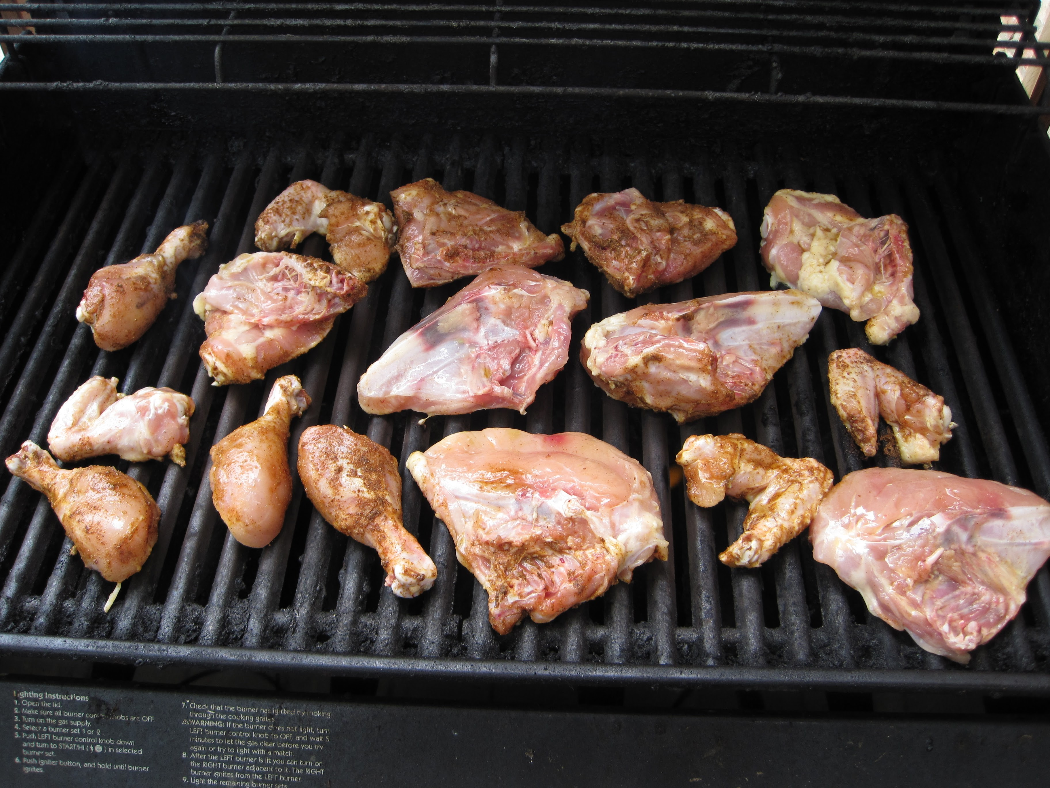 Place the chicken on the grill with some space between the pieces.