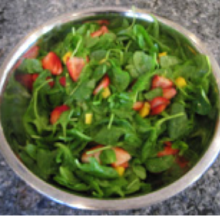 Spinach Salad with Mangos and Strawberries & Coleslaw with Shredded Chicken
