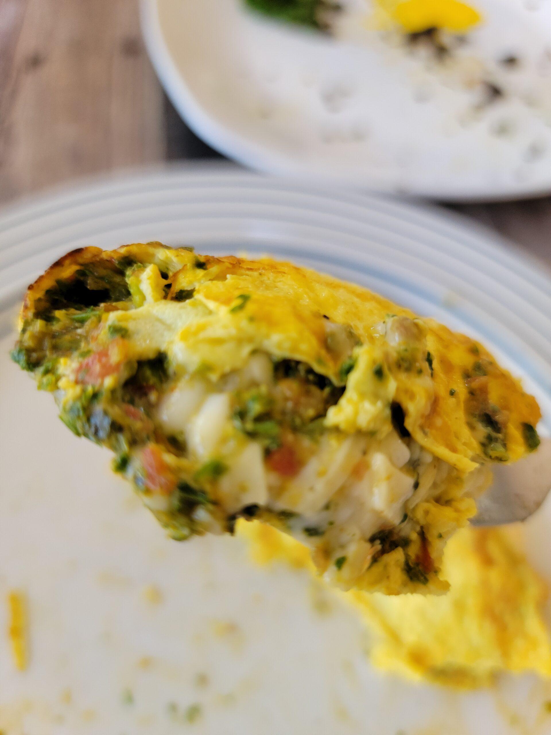 The inside of my favorite pesto omelet