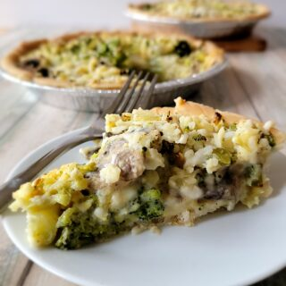 This is the updated Broccoli and Mushroom Cheese Pie - plant based, gluten free and fresh mushrooms!