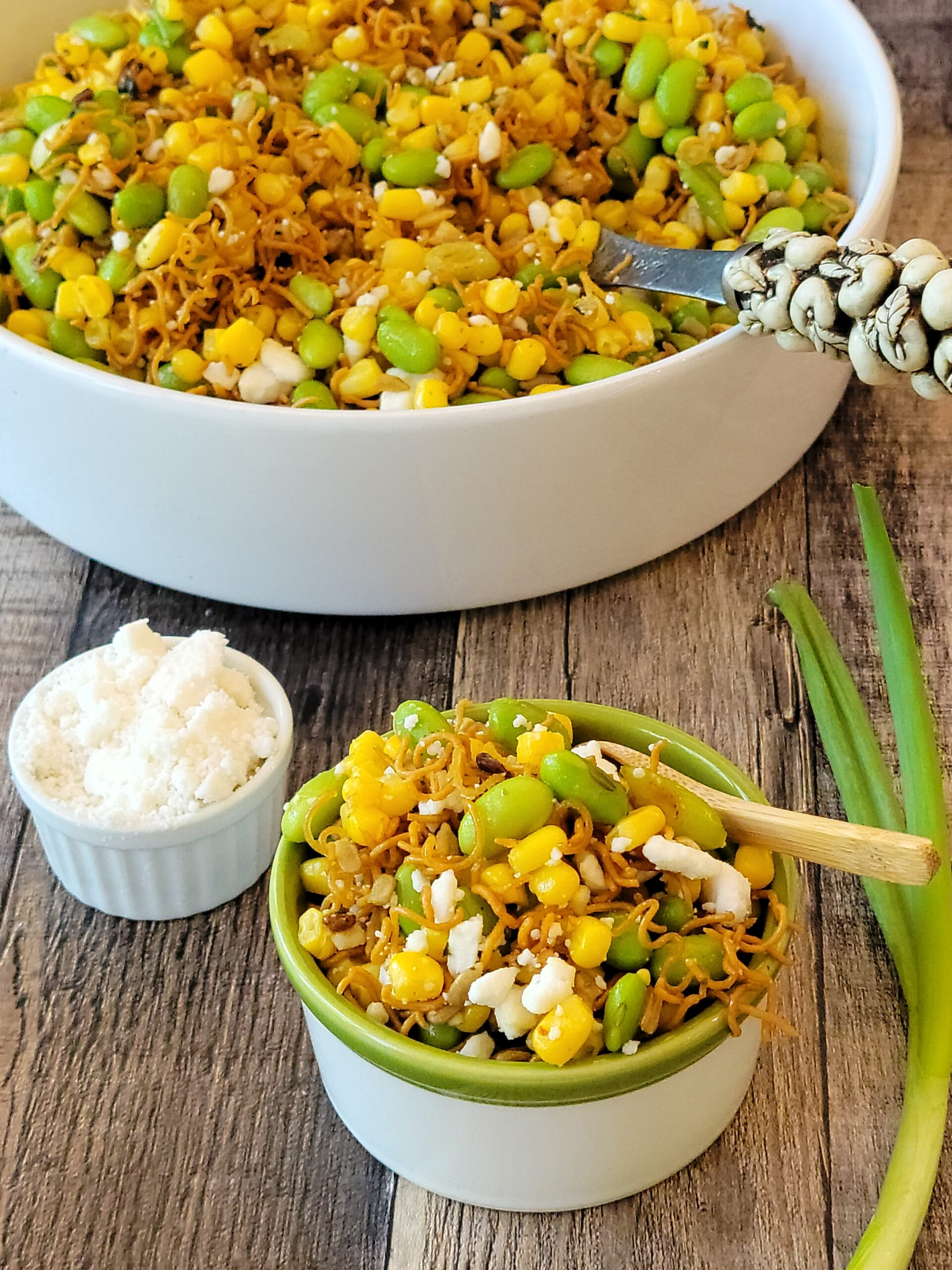 This is a picture of the updated version of the Crunchy Heartland Salad with plant based and gluten free ingredients.