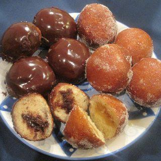 Sufganiyot with: Caramel Filling & Caramelized Sugar Glaze and Ganache Filling & Chocolate Glaze