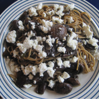 Warm Marinated Fresh Mushrooms with Feta & Whole Wheat Pasta