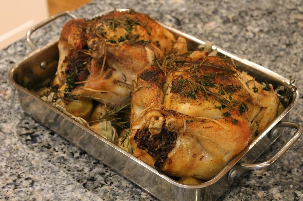Pre-Passover Cabinet Cleaning Rice Stuffed Roasted Chickens with Yukon Gold Potatoes