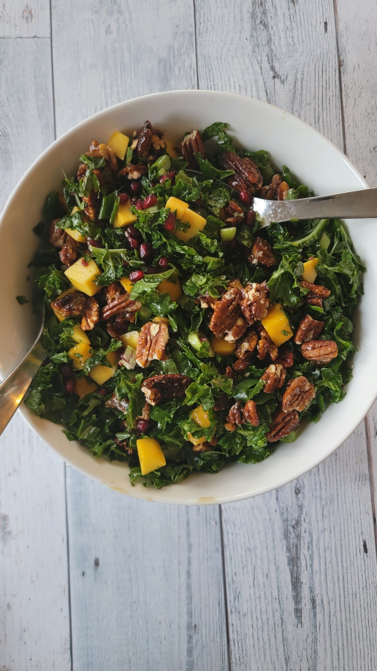Kale Pomegranate & Mango Salad with Honey Pomegranate Dressing - Perfect for Fall and Rosh Hashanah!