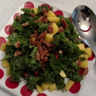 Fall Kale Pomegranate & Mango Salad with Honey Pomegranate Dressing