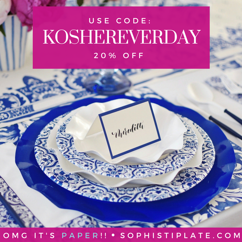 Perfect for your Purim Seudah or Pesach!!!!!  You'd never know they are not china…they are GORGEOUS!  Can you tell I love this product???  CLICK ON THIS LINK \/ !!!