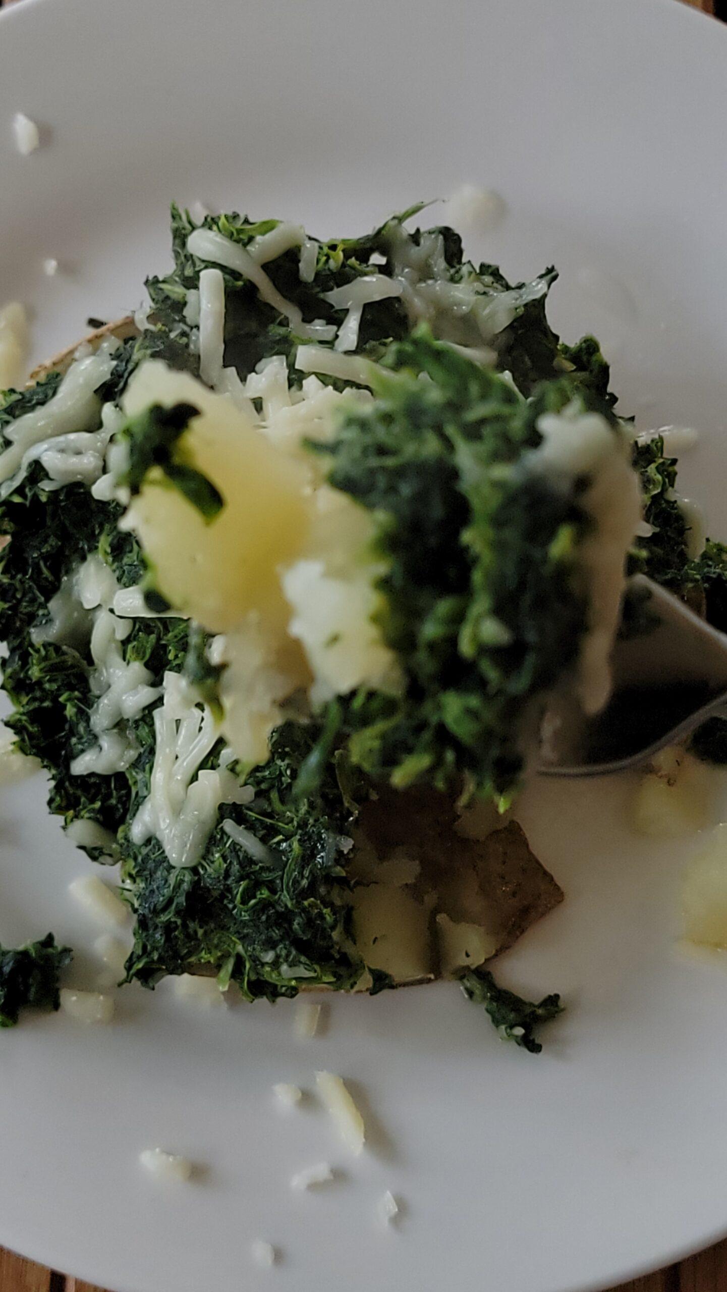 Spinach Soufflé Potato up close