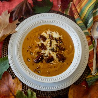 Sweet Potato Soup With Candied Pecans (Vegan, GF)