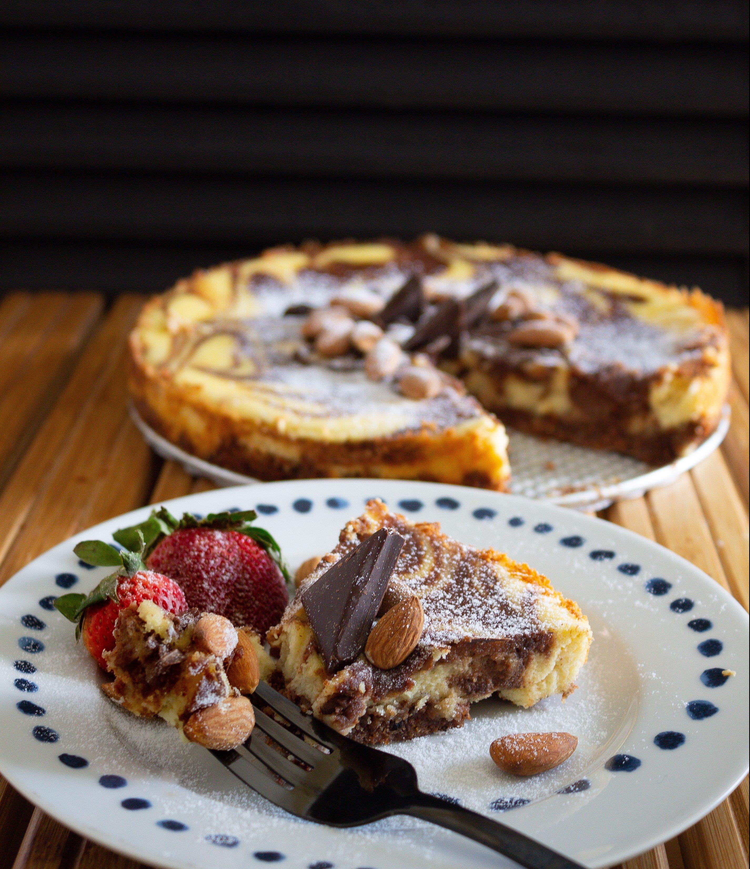 Almond Cream Cheesecake marbled dessert.