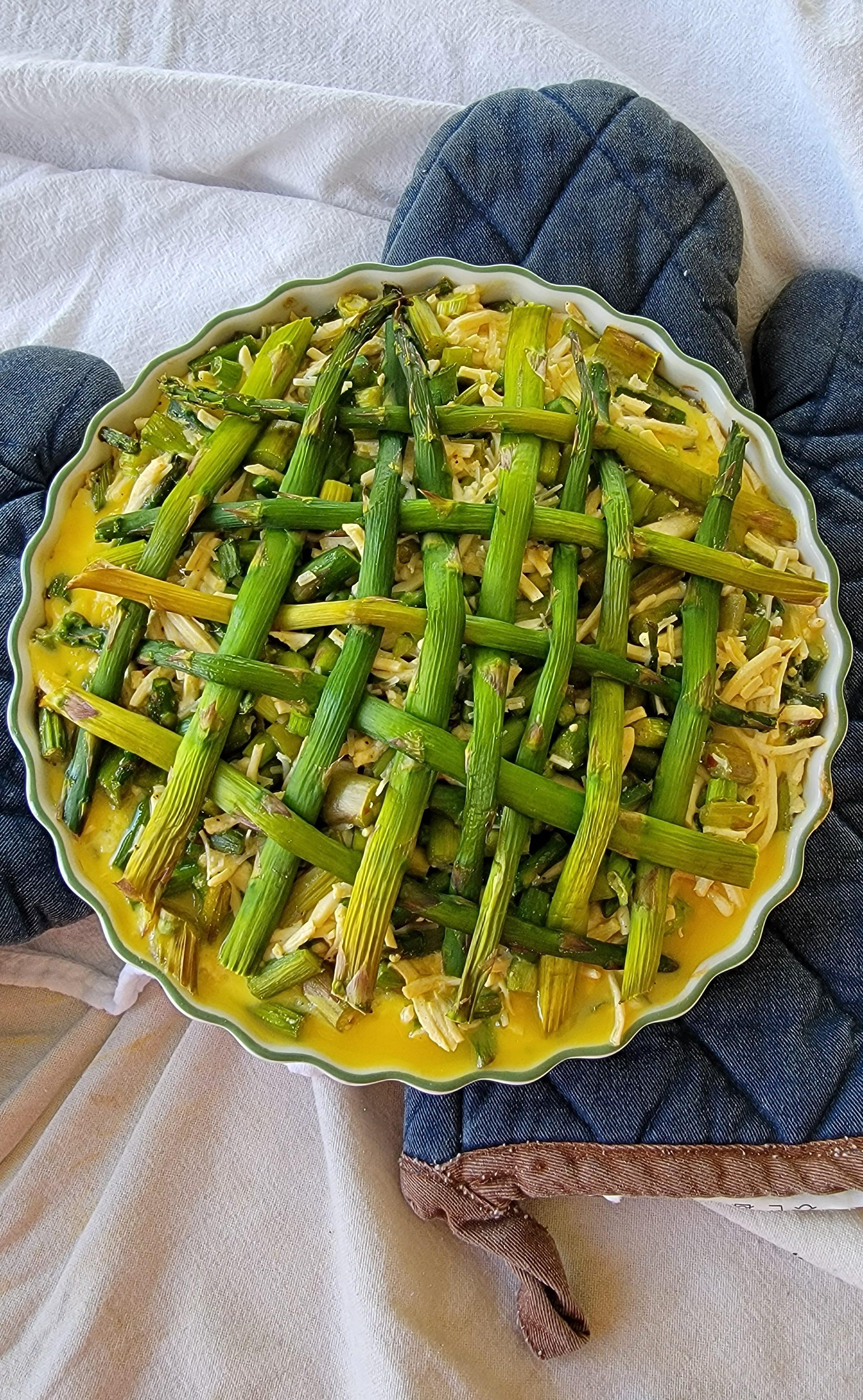 Shorter oven time asparagus quiche