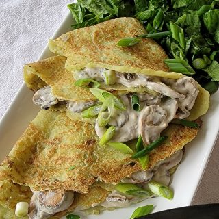 Riced Broccoli Crepes with Mushroom Cream Filling