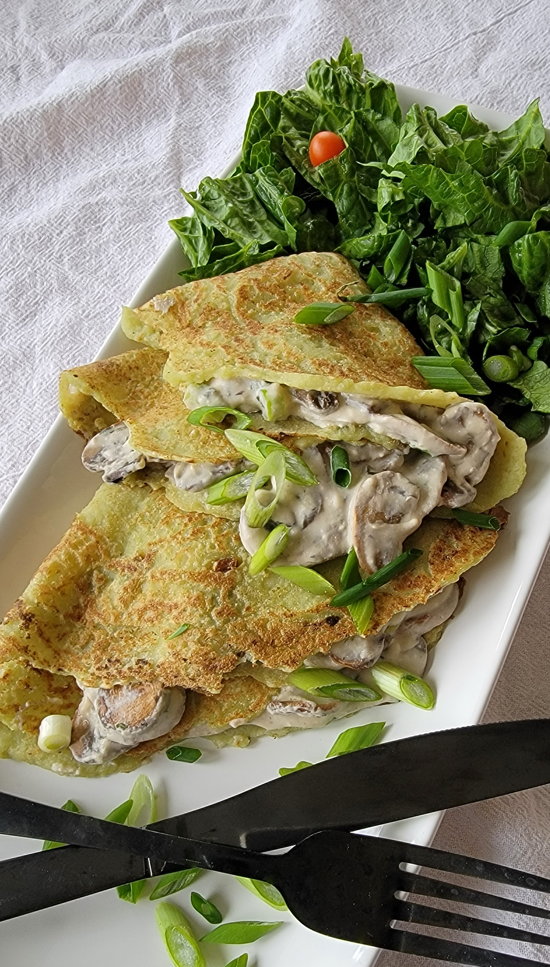 Finished Riced Broccoli Crepes with Mushroom Cream Filling