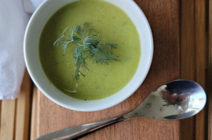 A closeup of Asparagus Soup with Dill Pollen