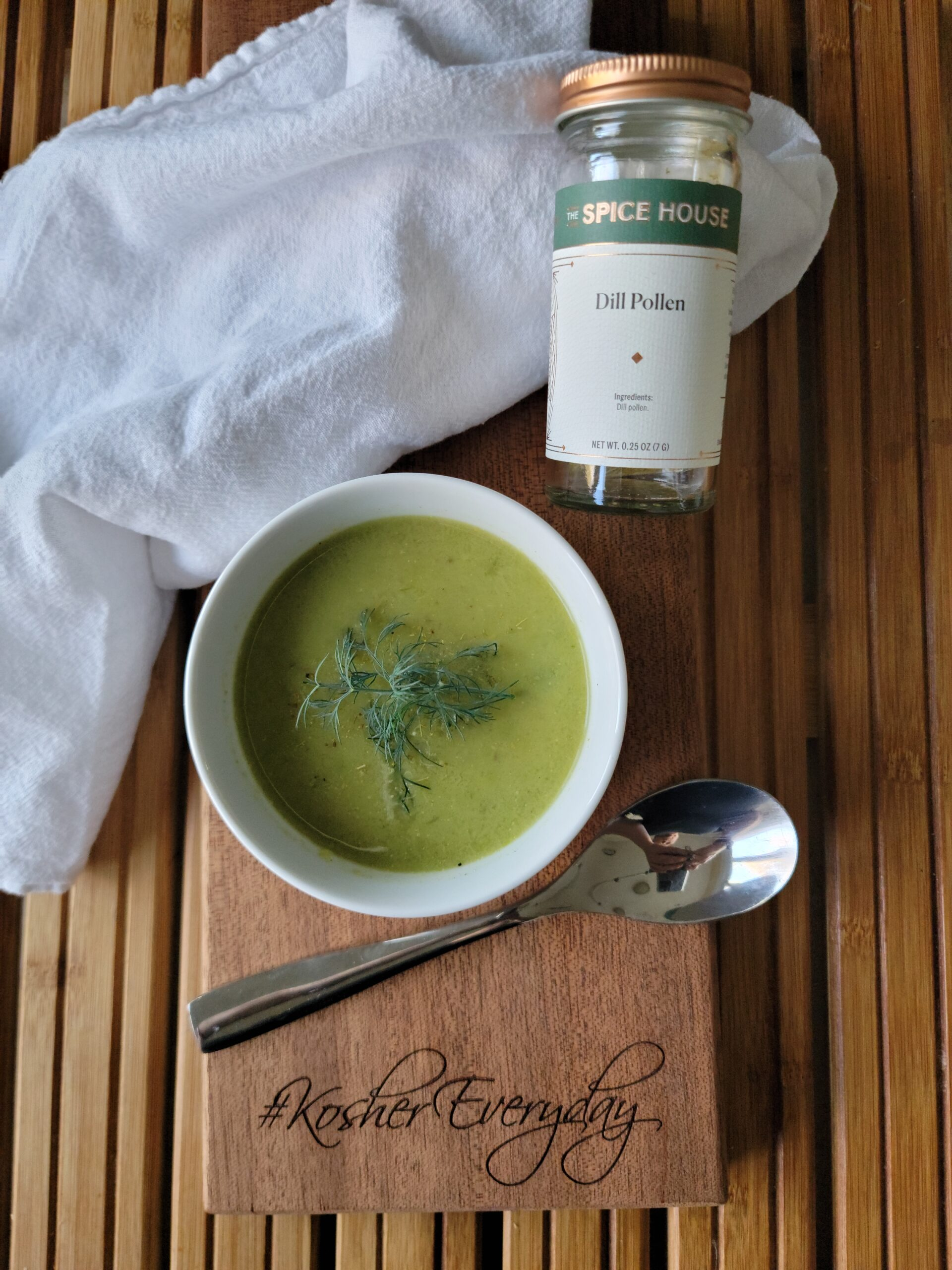 Asparagus Soup with Dill Pollen and a picture of the dill pollen jar.