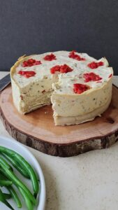 This is what a slice of the Savory Chive Cheesecake loo