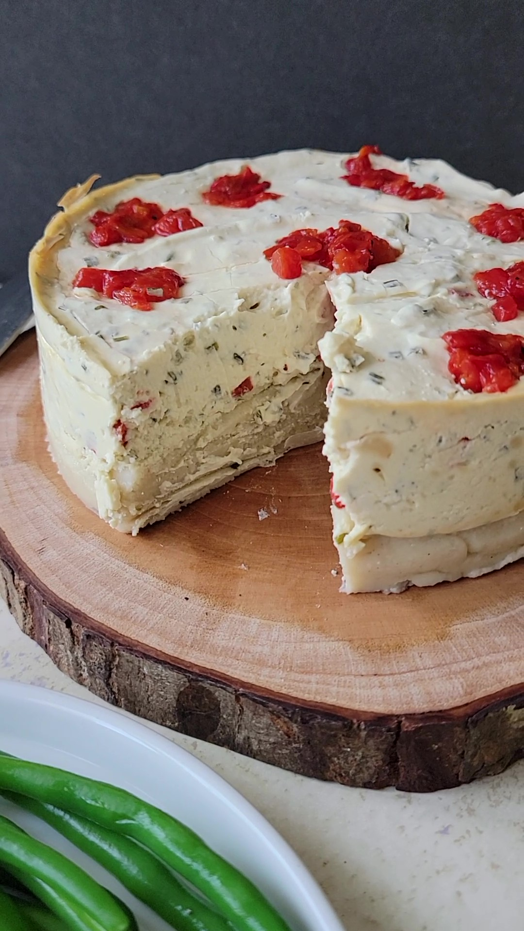 The inside of the Savory Chive Cheesecake