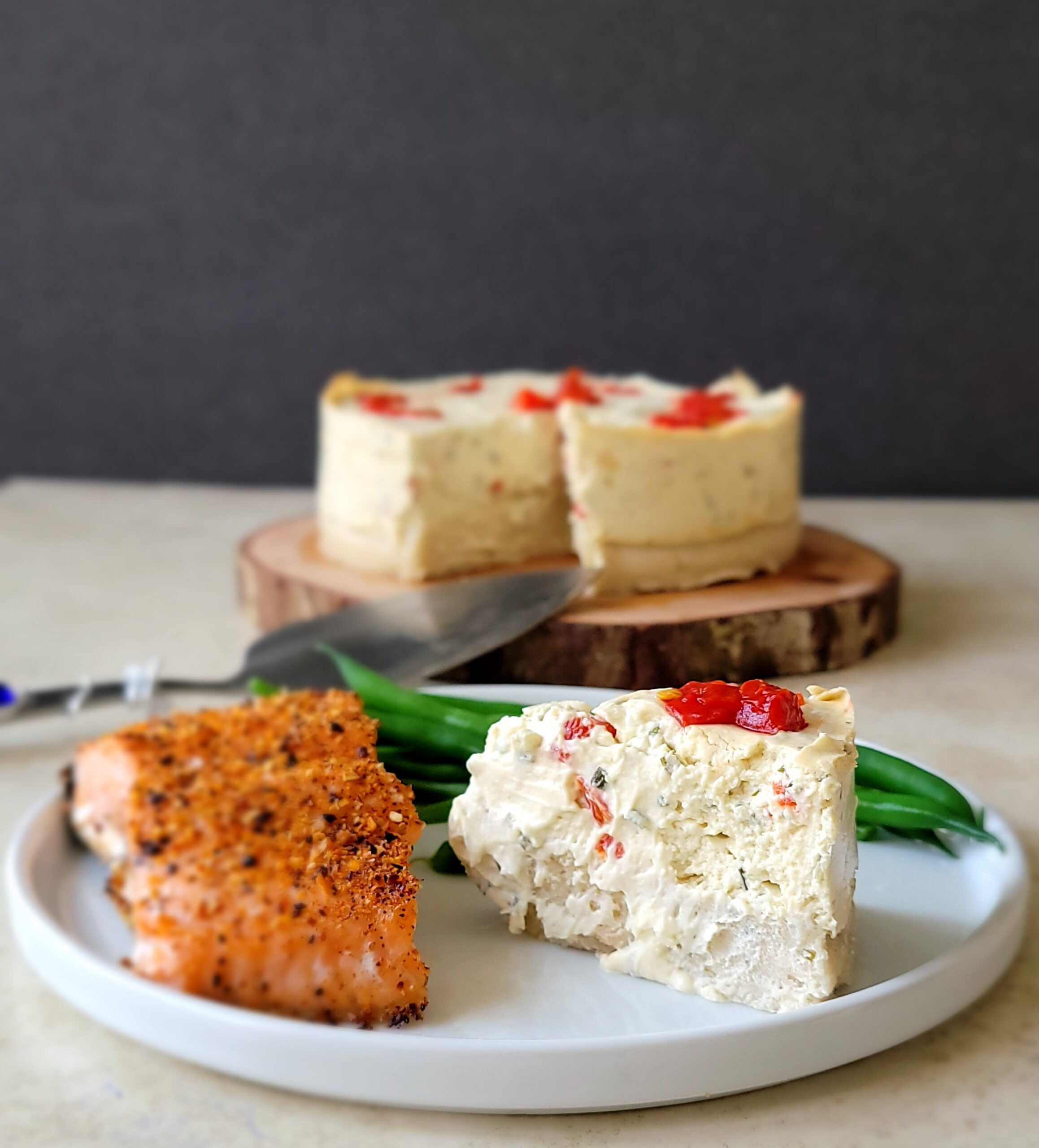 This is what a slice of the Savory Chive Cheesecake looks like