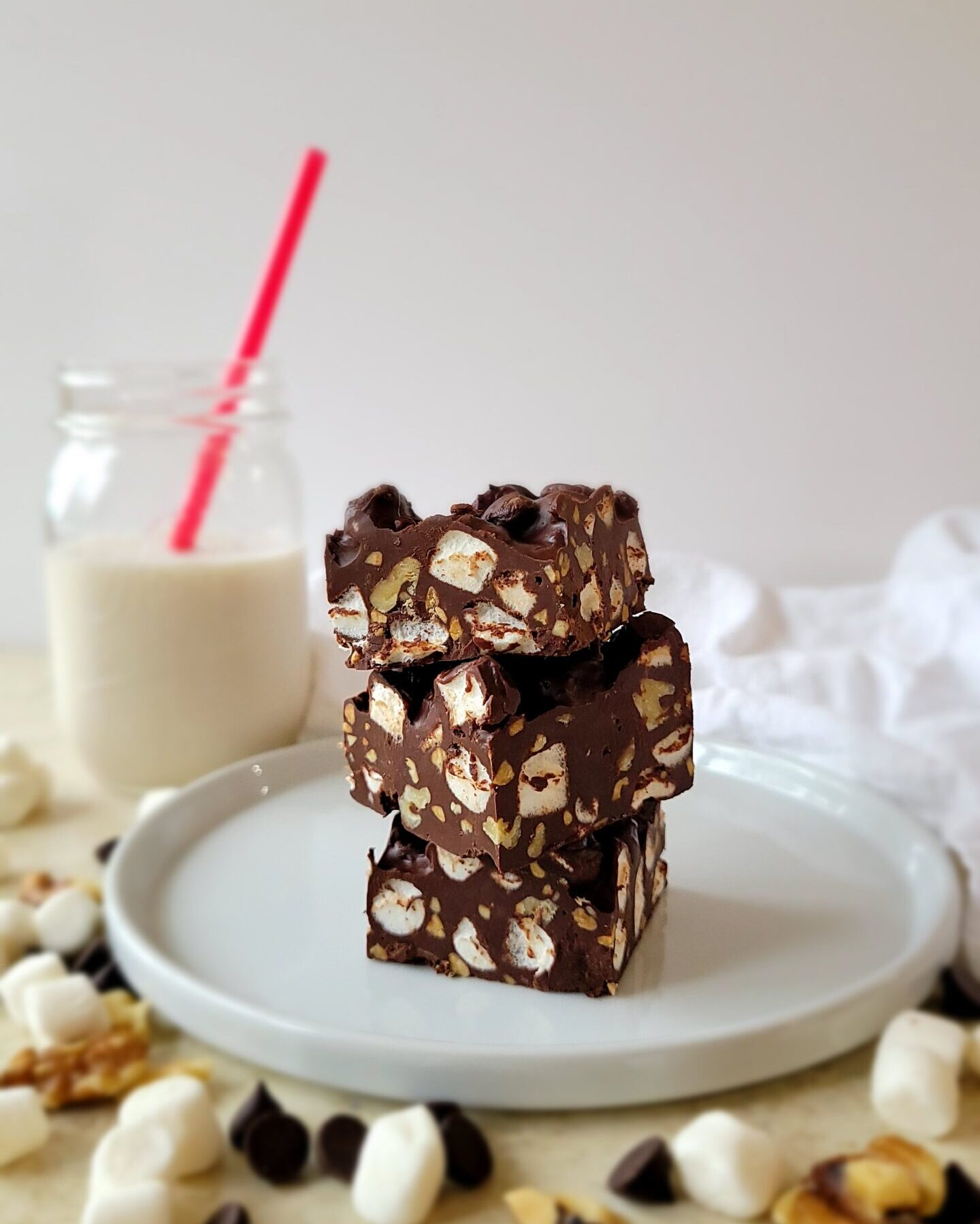 The Dark Chocolate Rocky Road bars are gorgeous when served to family and guests.
