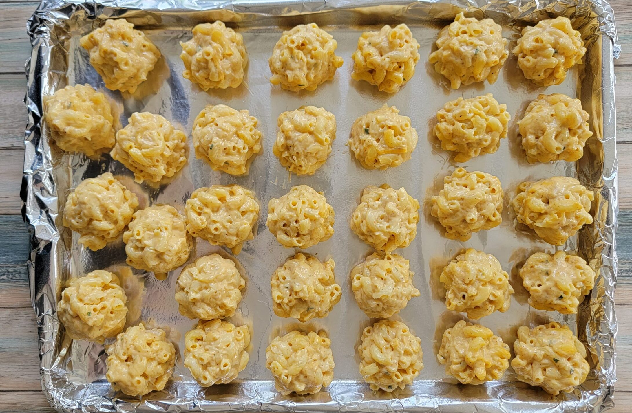 Mac and Cheese Balls Ready to be frozen.