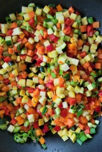Check out all the colors of the vegetables in the Garden Fresh Confetti Quinoa.