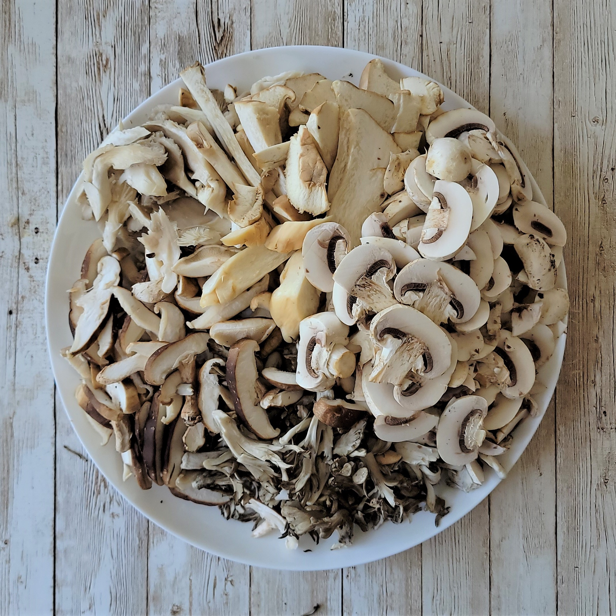 An assortment of mushrooms used in my Exotic Mushroom Ramen recipe.