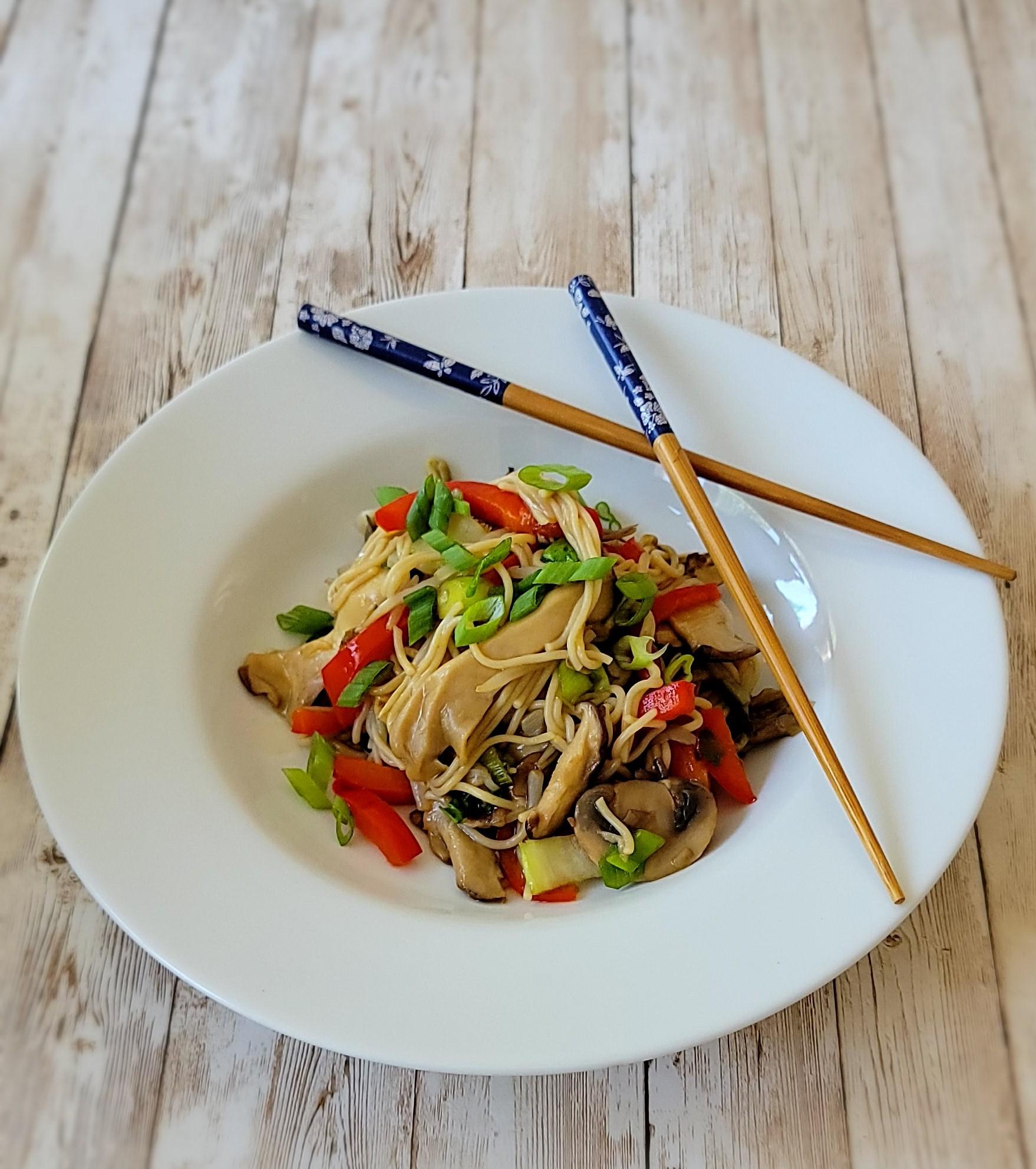 Flavorful Exotic Mushroom Ramen has assorted mushrooms, colorful vegetables with teriyaki sauce and gluten free ramen.