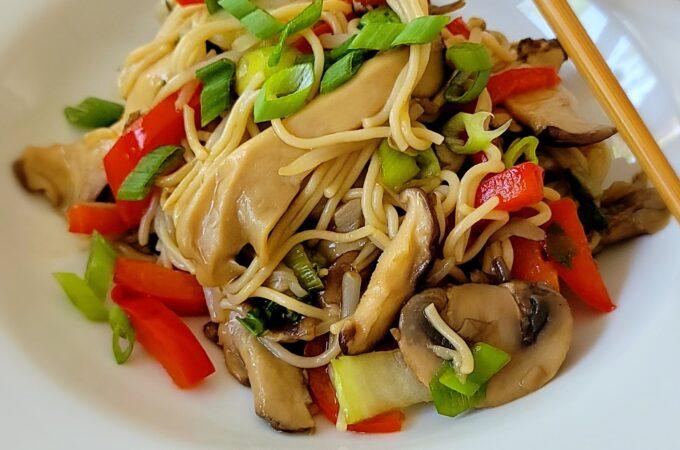 Exotic Mushroom Ramen close up picture.