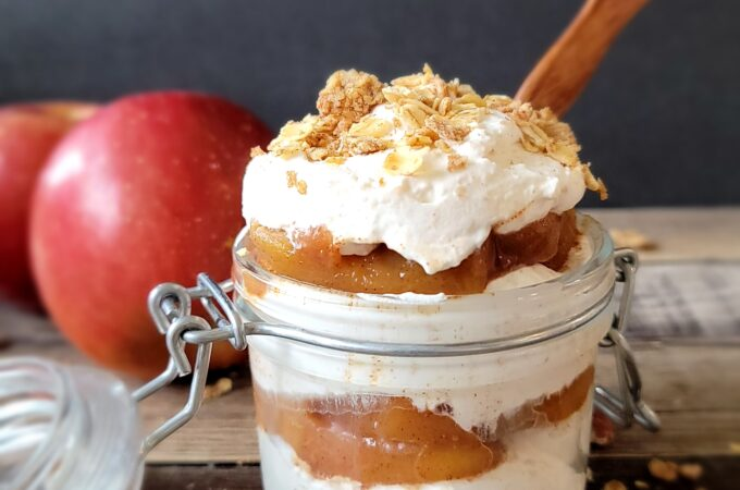 Apple Pie Parfaits are made with real apples and homemade granola.