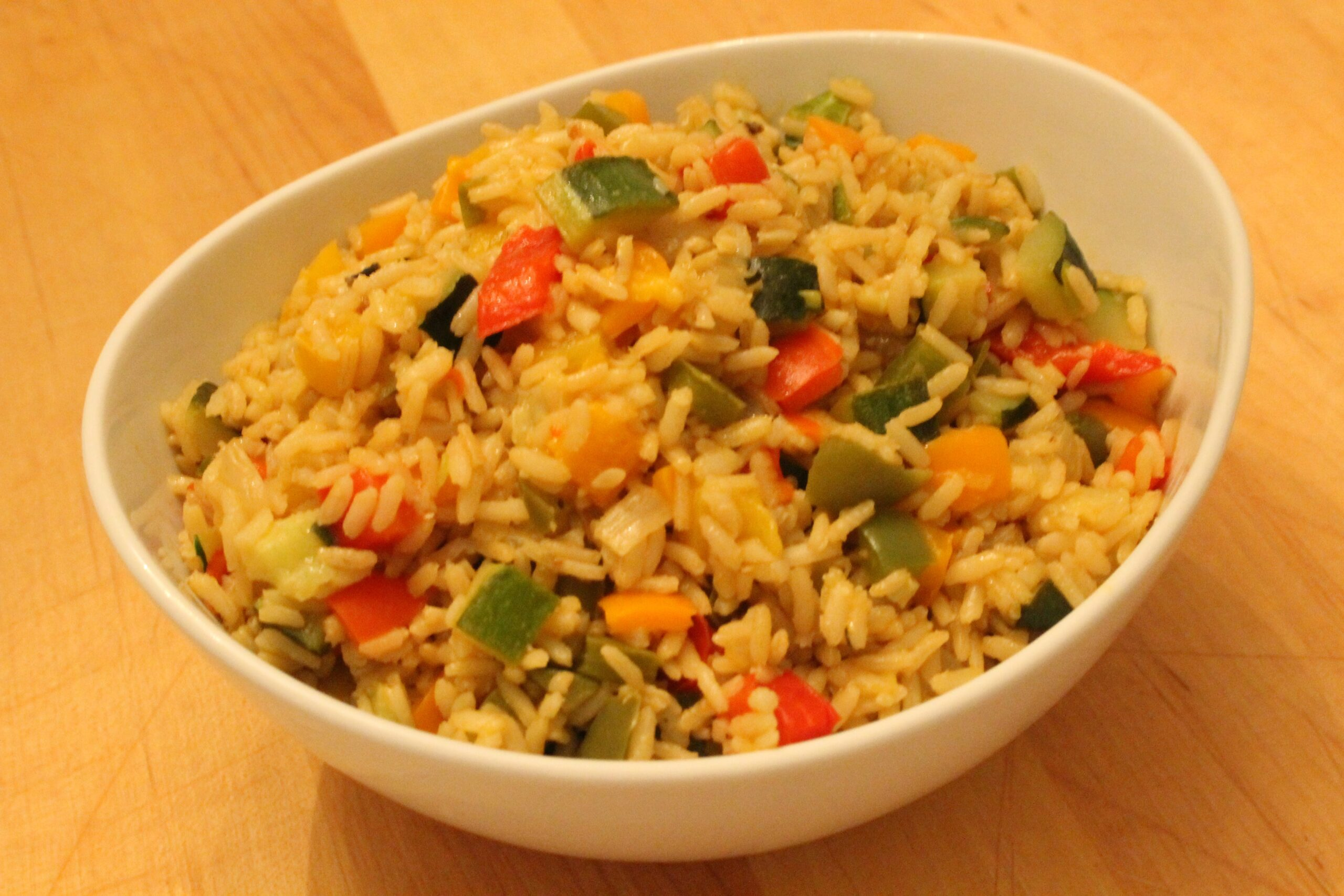 Garden Fresh Confetti Rice with all kinds of fresh, seasonal, colorful vegetables.