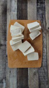 Sliced tofu for Tofu Parmesan