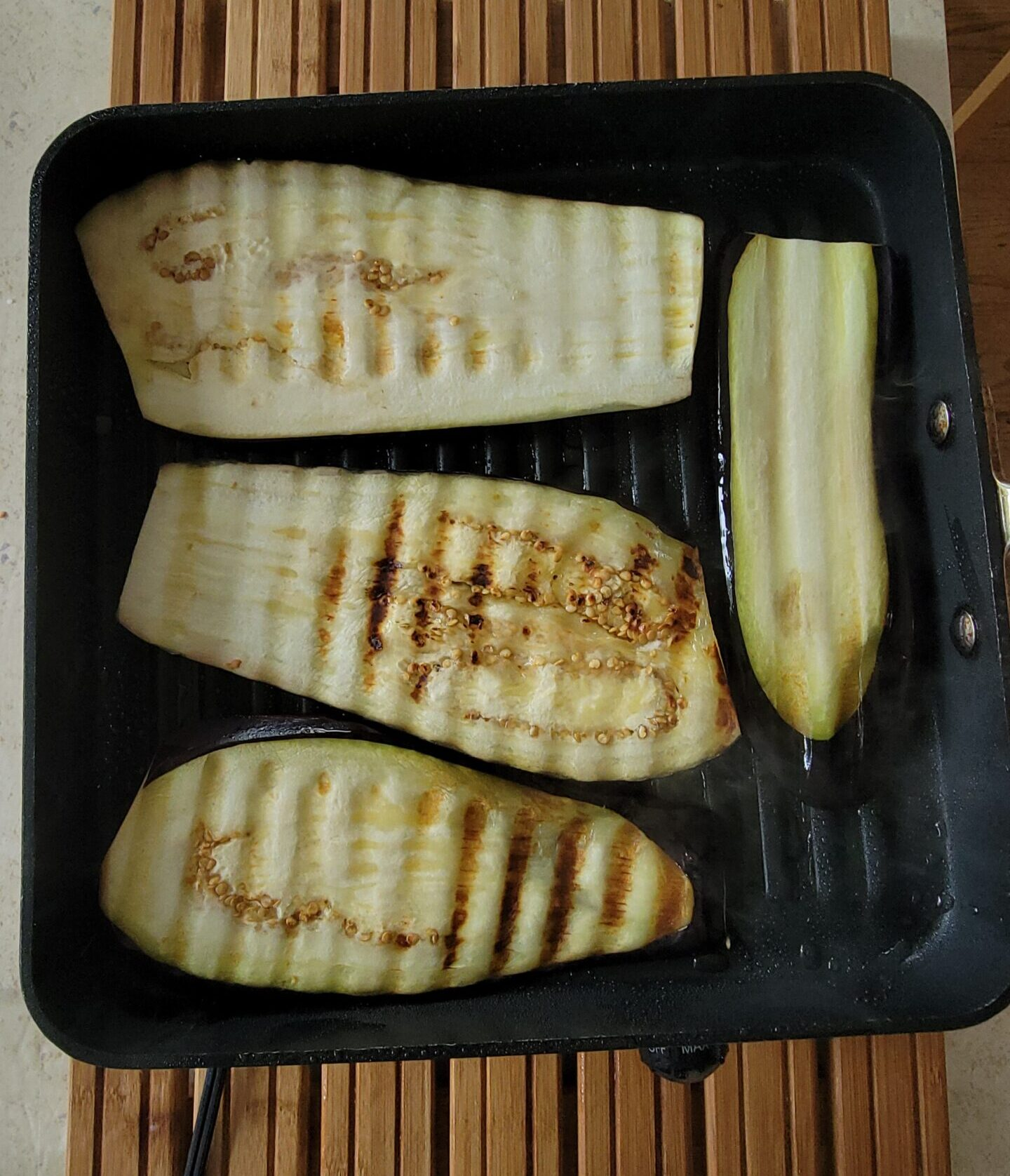Grilling eggplant on my All Clad Grill pan