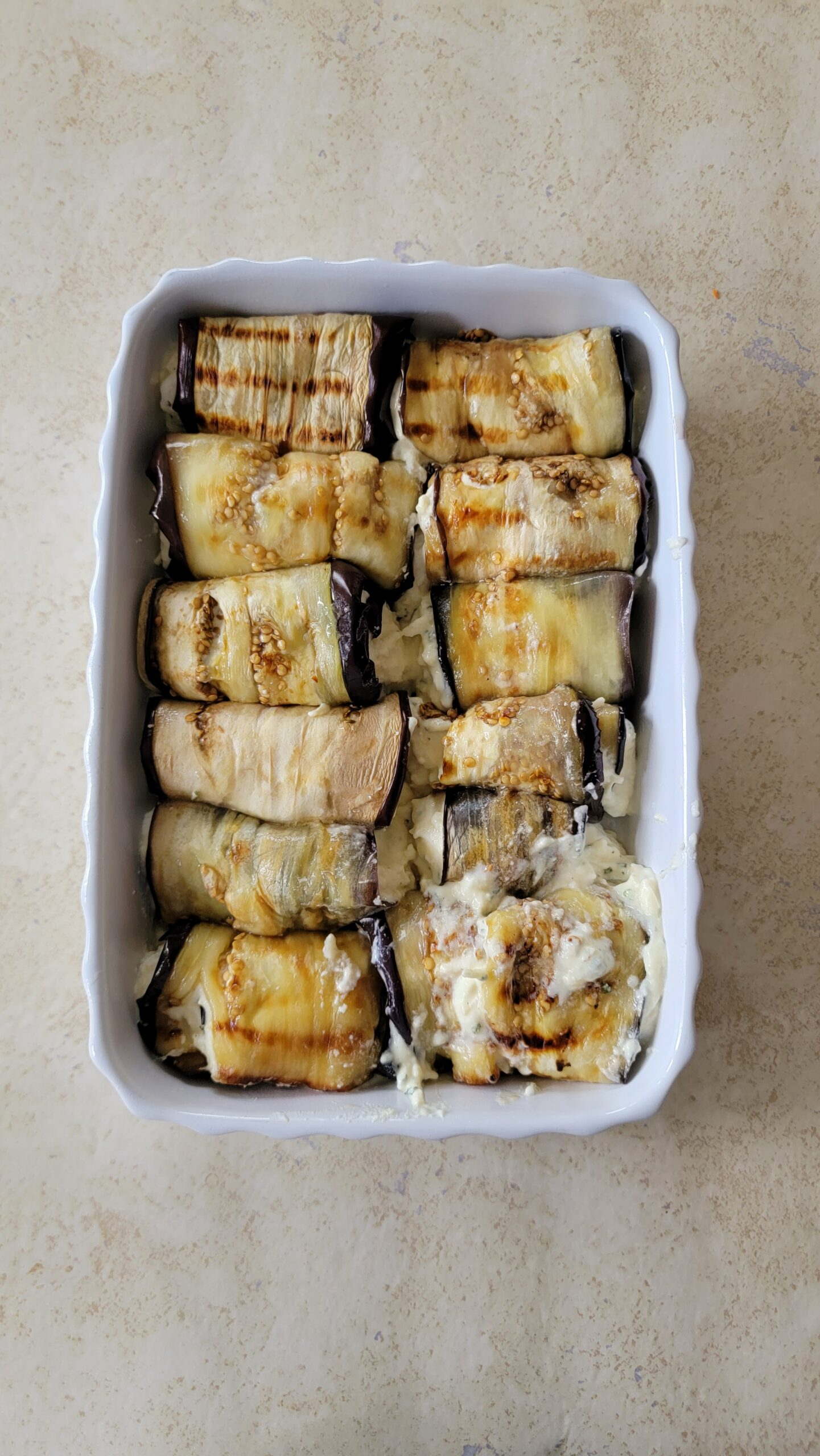 Three cheese Eggplant Rolls before the sauce