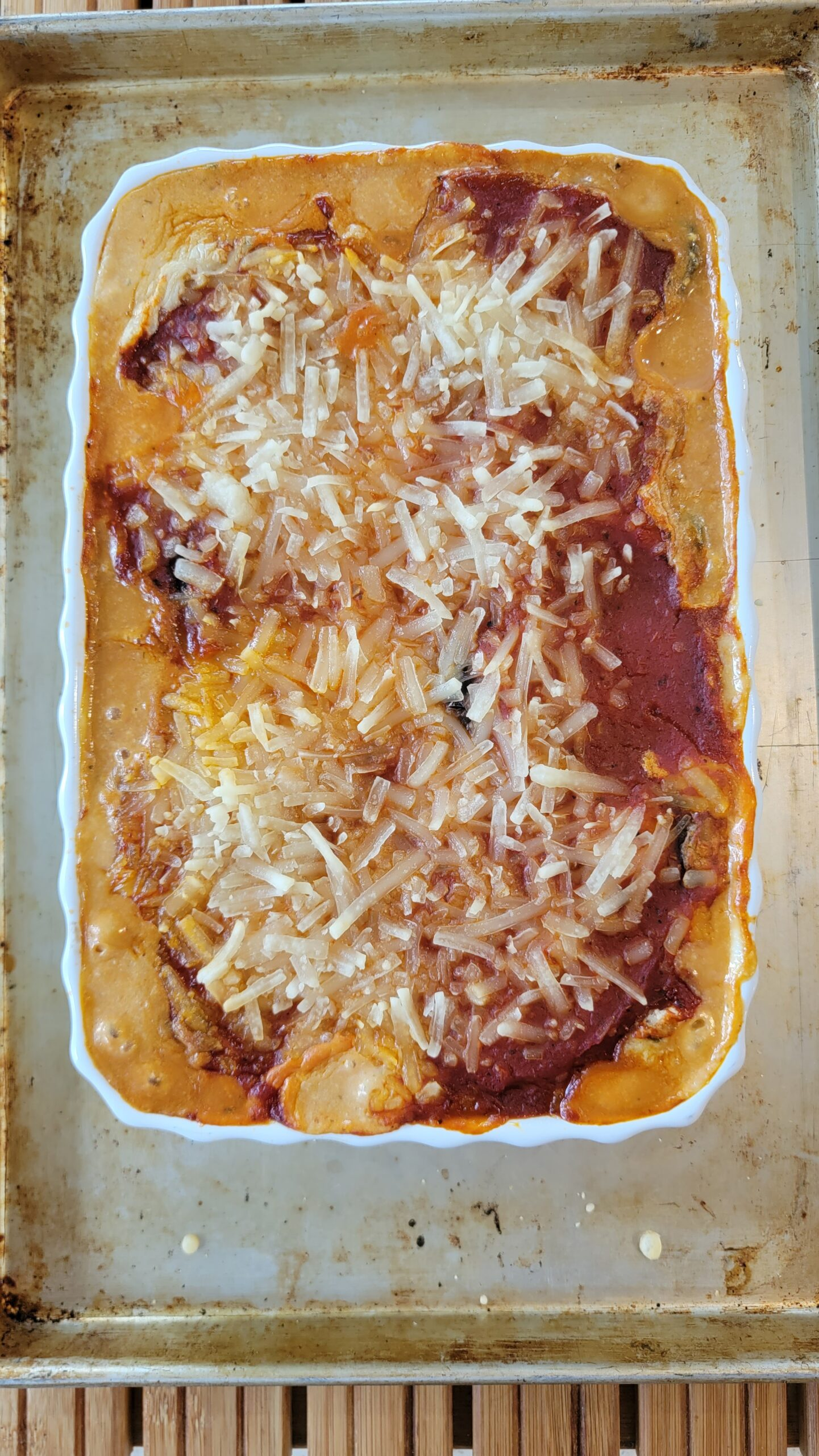 A pan of Three Cheese Eggplant Rolls