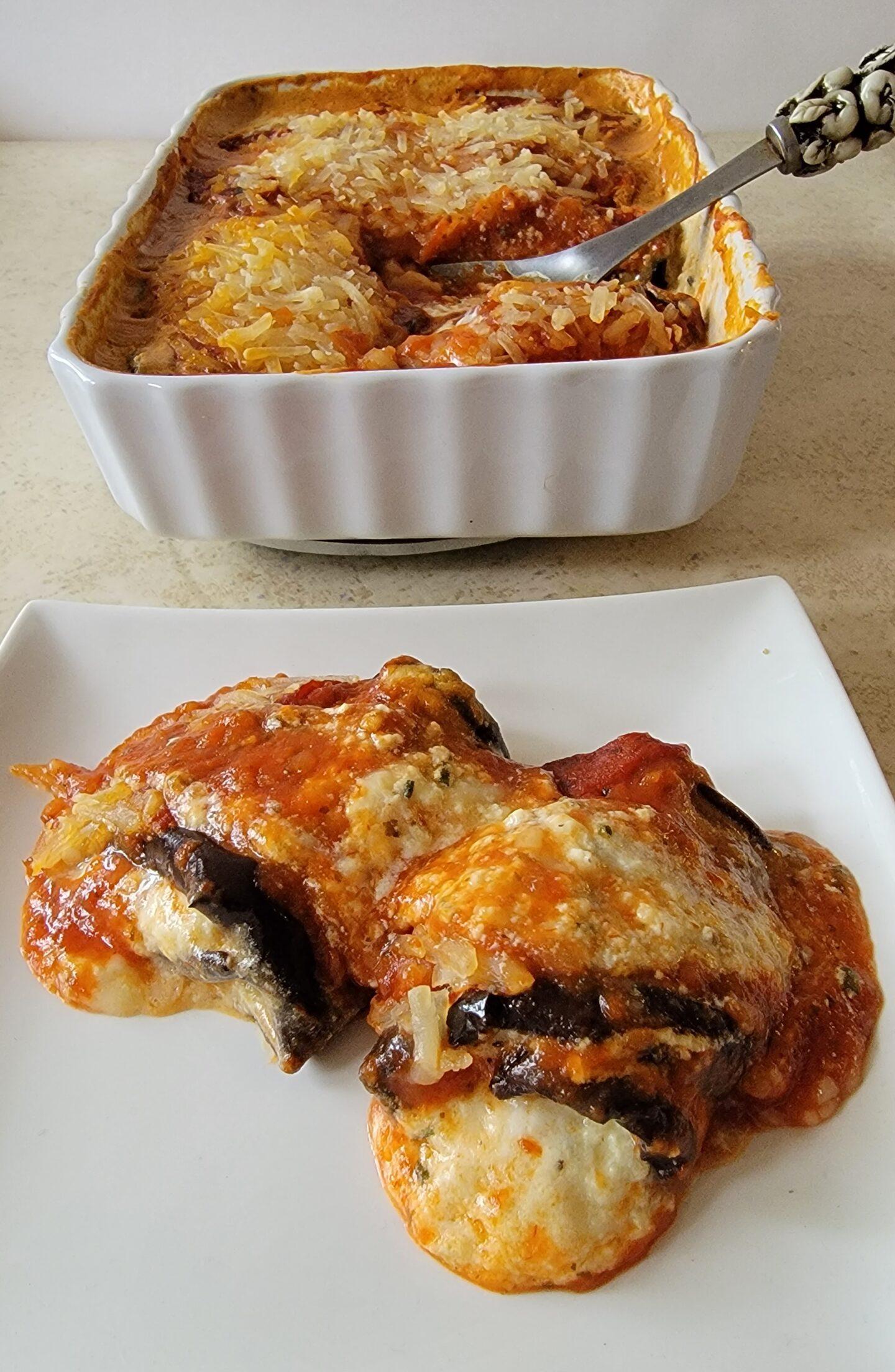Three Cheese Eggplant Rolls