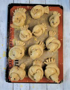 Gluten Free Challah birds pre-baking