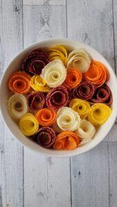 Rainbow Carrot Roses before Baking