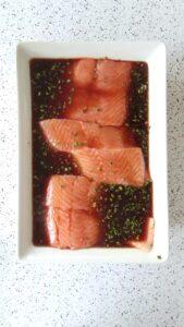 Marinating Honey Pomegranate Salmon