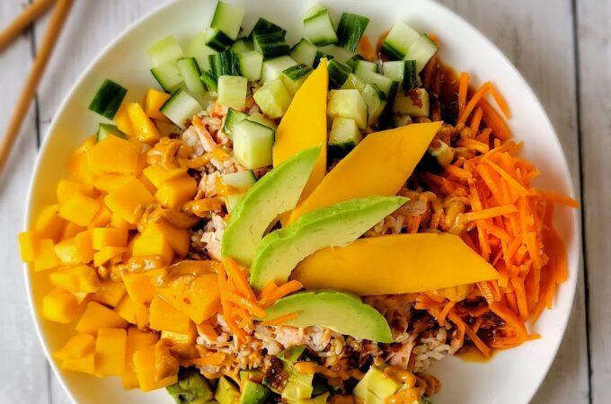 Teriyaki Salmon and Mango Bowl